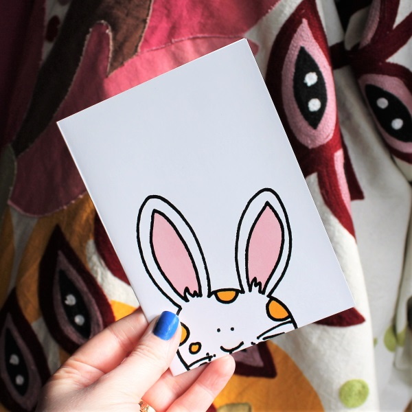 Bunny card Easter bunny card cute white rabbit