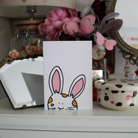 Bunny Card - Blank Greetings Card - White Rabbit - Cute