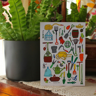 Gardening Card - Blank Greetings Card - Father's Day - Vintage Garden Tools