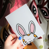 Bunny card Easter bunny postcard cute white rabbit