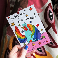 Unicorn card today you must sparkle card