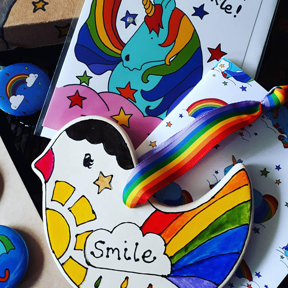 Rainbow box smile happy post Limited Edition mail box Only 50 created!