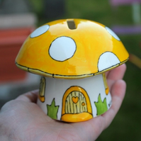 Yellow mushroom money box fairy piggy bank hand painted China mushroom