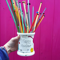 Happy Hooker crochet needle storage pot hand painted colourful storage