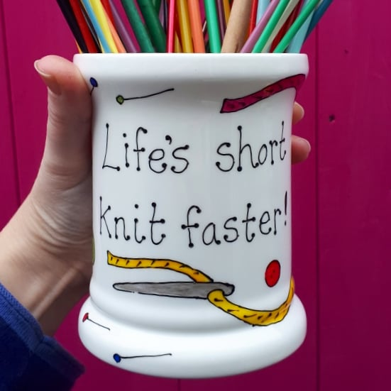 Life's short knit faster knitting needle storage pot colourful storage