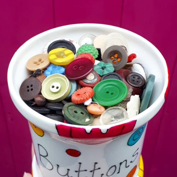 Buttons storage pot hand painted colourful storage