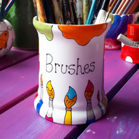 Paint brushes brush storage pot hand painted colourful storage