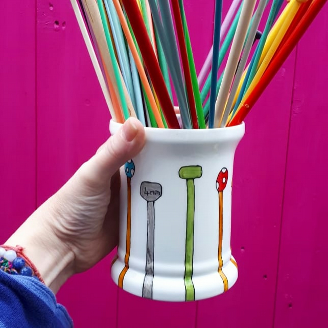 Knitting needle storage pot hand painted colourful storage