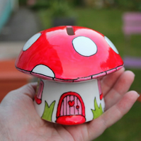 Red mushroom money box fairy piggy bank hand painted China mushroom