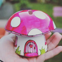 Pink mushroom money box fairy piggy bank hand painted China mushroom
