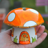 Orange mushroom money box fairy piggy bank hand painted China mushroom