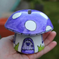 Purple mushroom money box fairy piggy bank hand painted China mushroom