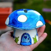 Blue mushroom money box fairy piggy bank hand painted China mushroom