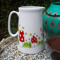 4 pint large mushroom jug huge juice jug painted in a colourful mushroom design
