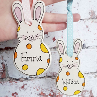 Personalised bunny decoration ceramic rabbit personalised pottery cute spotted