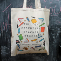 Personalised Teacher Stuff bag funny teachers gift useful tote bag end of term