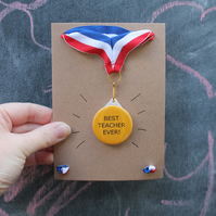 Teacher medal card fun low cost teaching assistant gift end of term receptionist
