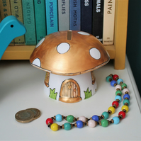 Gold mushroom money box hand painted limited edition fairy house