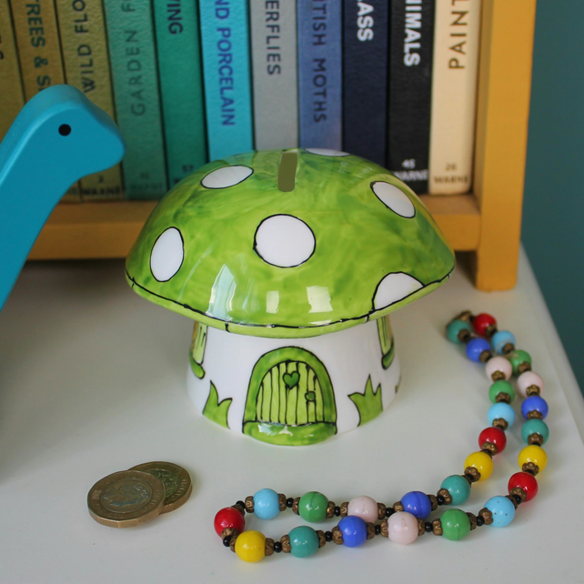 Green toadstool money box fairy house green mushroom piggy bank