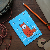 Fox note book colourful turquoise notebook sketch book pocket notebook