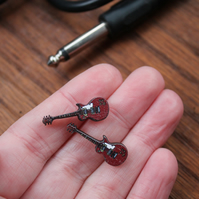 Electric guitar earrings stainless steel studs music gift cute wooden