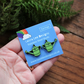 Watering can earrings stainless steel studs gardeners gift wooden