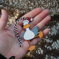 Ta da! duck tree decoration colourful tree ornament bird seagull santa hat