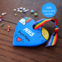 NHS Superhero Heart - Ceramic - Rainbow - Nurses - Carers - Doctors