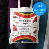 Superhero Tote Bag - Rainbows - Key Worker - Doctor - Carer - Nurse - Gift