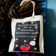 Personalised Keyworker Tote Bag - Teacher - End Of Term - Thank You Gift