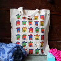 Beach Huts Tote Bag - Seagull - Swim Bag - Beach Bag - Fold Away