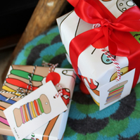 Crafters Gift Wrap Pack - 3 Sheets - 4 Tags - Sewing - Knitting - Crochet