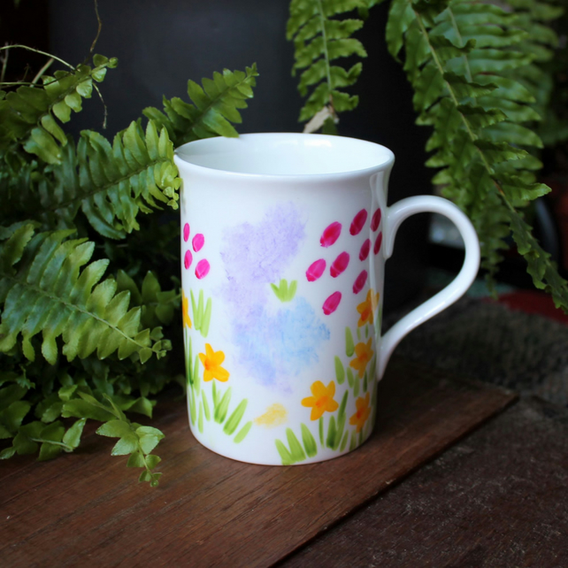 Meadow Flowers Mug - Hand Painted - Fine China - Floral Cup