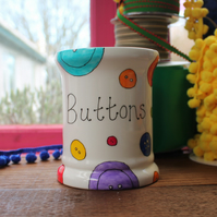 Buttons Storage Jar - Pot for Buttons - hand Painted - Fine China