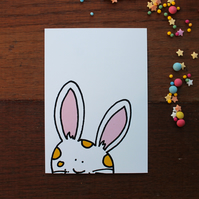 Bunny Postcard - Blank Card - Cute - White Rabbit
