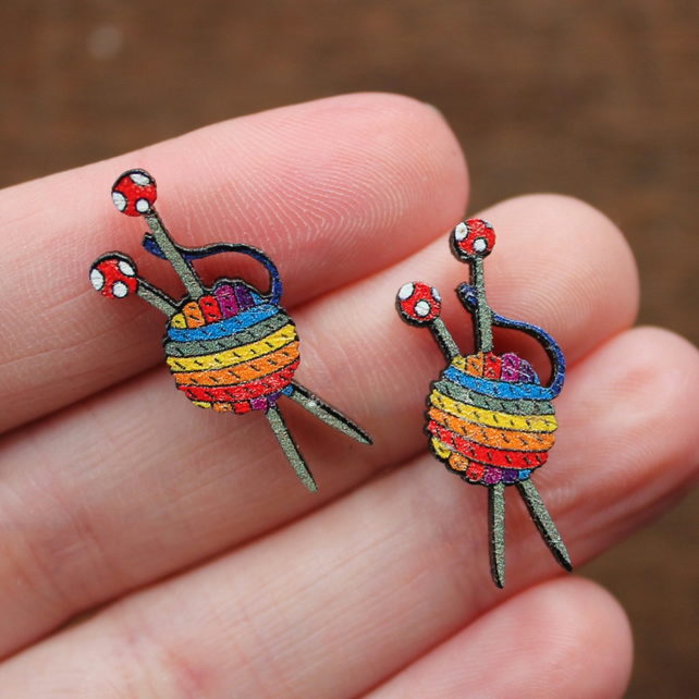 Rainbow Yarn Earrings - Stainless Steel Studs - Wood - Knitter's Gift