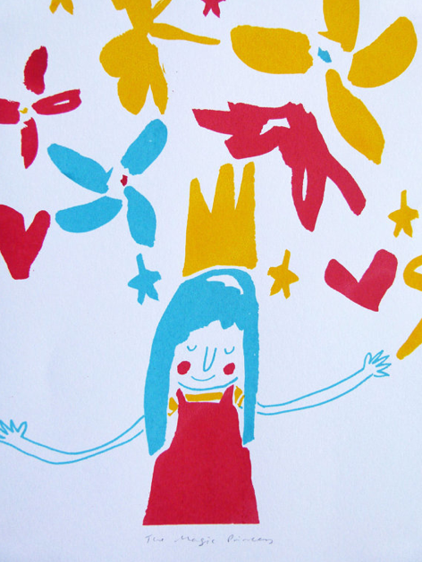 The Magic Princess. LTD edition screen print of a girl with stars & flowers