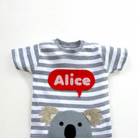 Baby Koala Personalised T-Shirt : Baby Shower Gift, Baby Girl