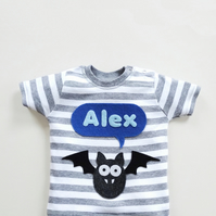 Personalised Bat T-Shirt : Halloween T-Shirt, Baby Boy
