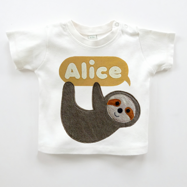 Organic Baby Sloth T-Shirt : Organic Baby Top, Organic Baby Shower