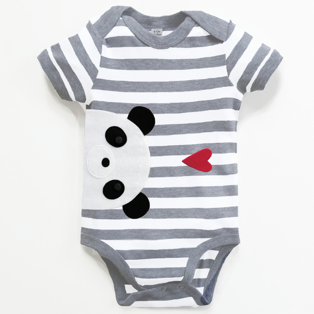 Baby Panda  Bodysuit, Baby Boy Shower, New Baby Gift