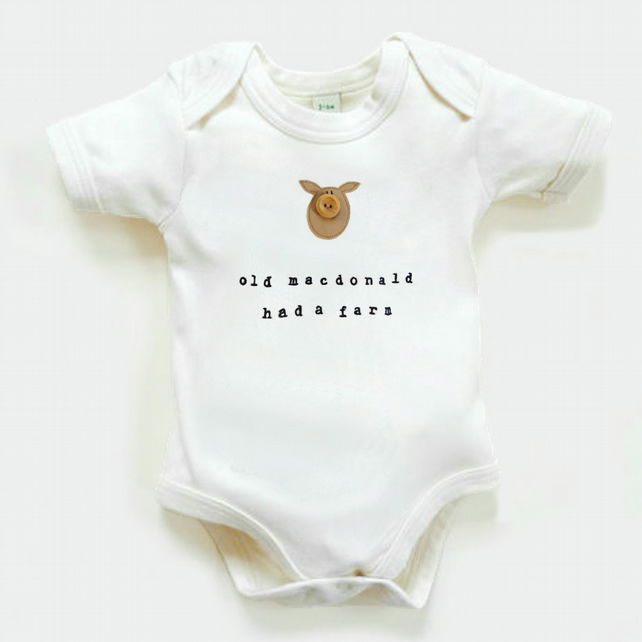 'Old MacDonald had a farm' Organic Bodysuit, Baby Shower Gift, Organic Baby
