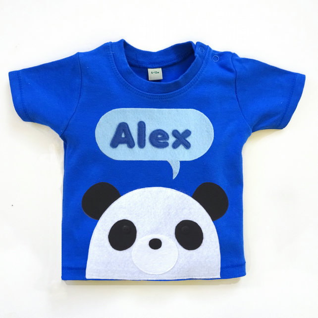 Personalised Organic Baby Panda T-Shirt : 3 months up to 5 years