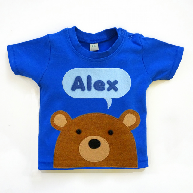 Personalised Baby Bear T-Shirt :  3 Months To 6 Years
