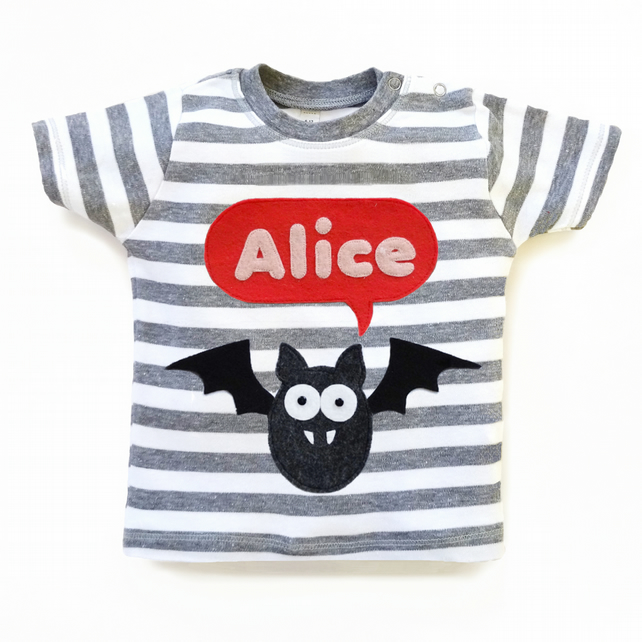 Personalised Baby Bat T-Shirt : Baby Shower Gift, Baby Girl, Halloween T-Shirt