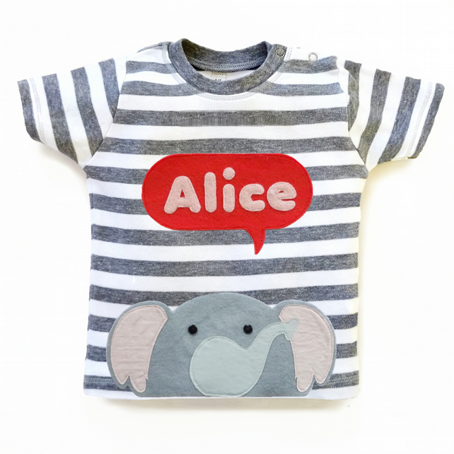 Personalized Baby Elephant T-Shirt, Baby Shower Gift, Baby Girl