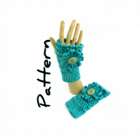 Crochet fingerless mitts pattern pdf, chunky yarn, textured stitch, flower