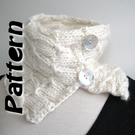 Button scarf knitting pattern pdf, chunky yarn, easy written instructions