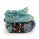 Pure Yak Laceweight Yarn handdyed in shade Ocean Blue with FREE crochet pattern