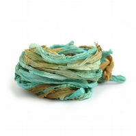 Recycled chiffon silk ribbon handdyed in Deep Forest, 10metre length